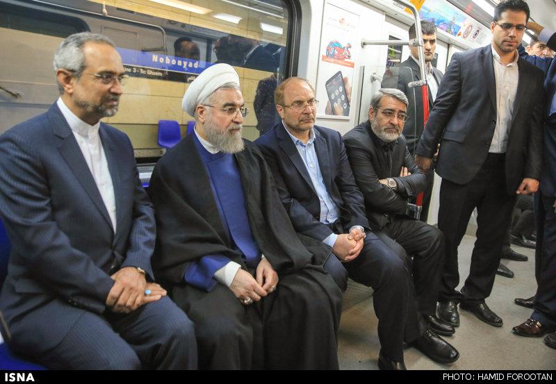 عکس جنجالی قالیباف و روحانی در مترو تهران !